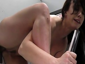 Whore gets gloryhole cum