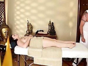 Young babe throatfucked by horny masseur