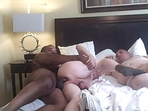 4 mature old guys play in a hotel room black daddy grandad