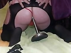 Riding on dildo and cumming