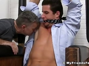 Tied up classy jock getting his feet and armpit licked by a perv
