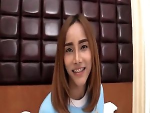 Ladyboy puts toy beads in her butthole then gets banged