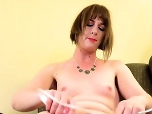 Amateur femboy solo toying and pulling cock
