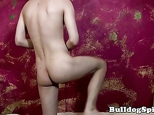 Solo twink toying his ass with huge dildo
